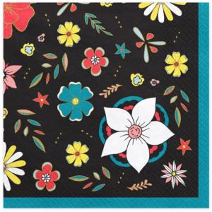 PartyDeco Servetter Svarta med blommor, 20 st