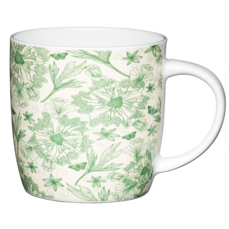 Kitchen Craft Mugg, gröna blommor