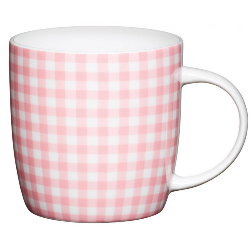 Kitchen Craft Mugg, gingham rosa