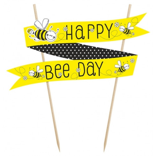 PartyDeco Cake Topper Banderoll, Happy Bee Day