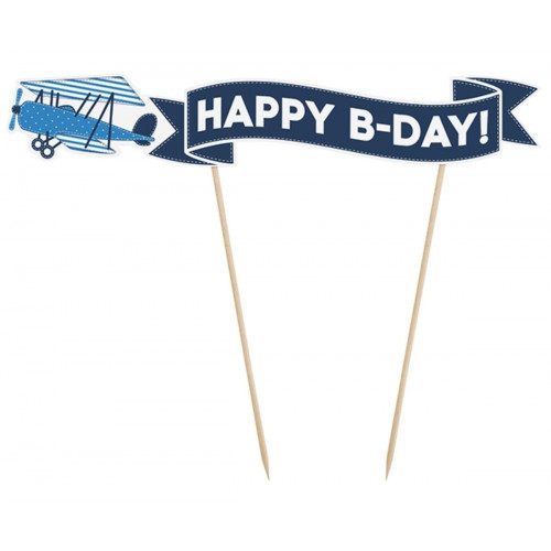 PartyDeco Cake Topper Flygplan, Happy B-Day