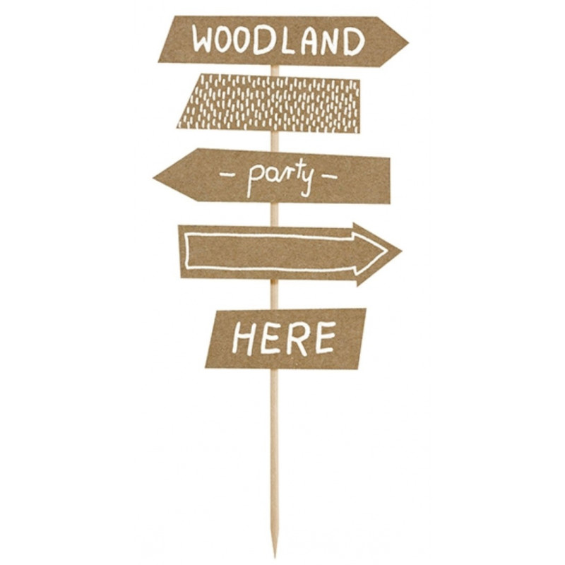 PartyDeco Cake Topper Woodland, skyltar