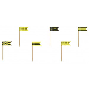 PartyDeco Cupcake Toppers Flaggor, gul och svart
