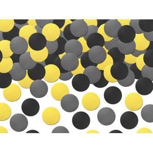 PartyDeco Konfetti cirklar, gul och svart