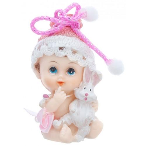 PartyDeco Tårtdekoration Baby med kanin, rosa