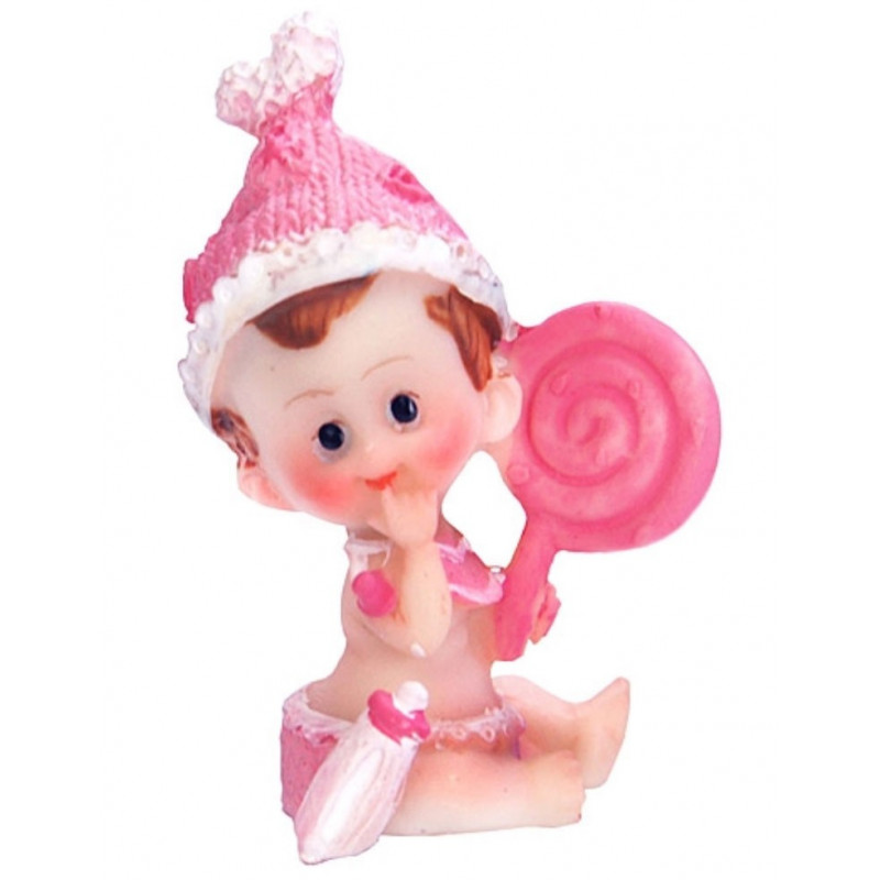 PartyDeco Tårtdekoration Baby med godisklubba, rosa