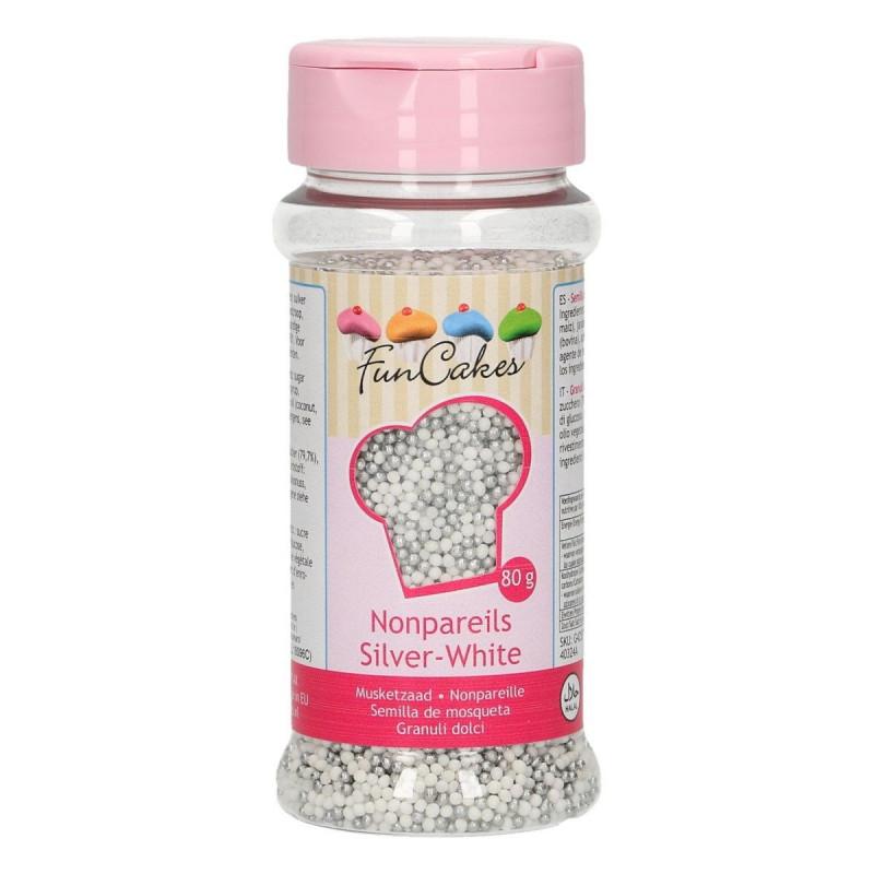 FunCakes Sockerpärlor Mini, vit och silver