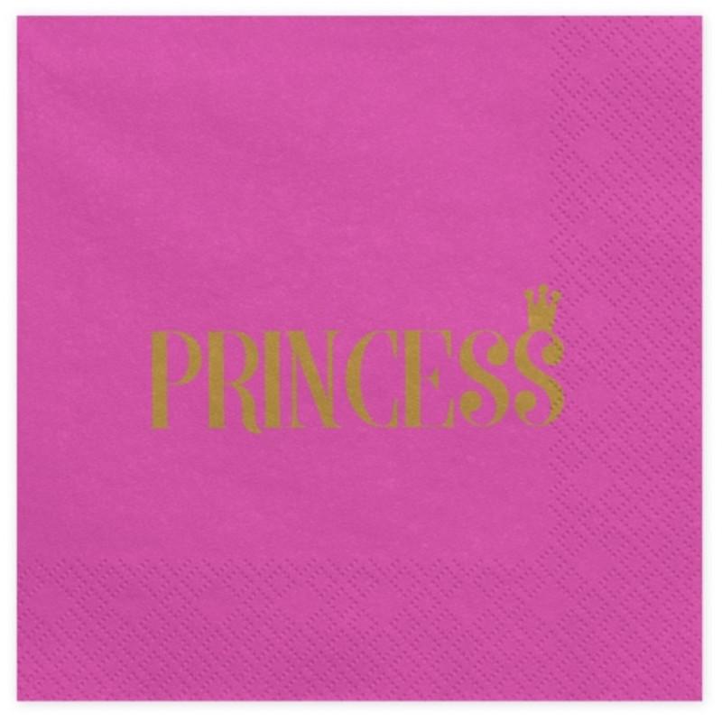 PartyDeco Servetter Princess, rosa