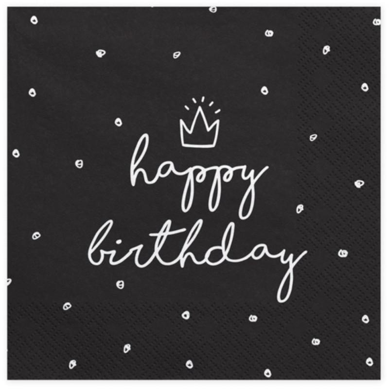 PartyDeco Servetter Happy Birthday, svart