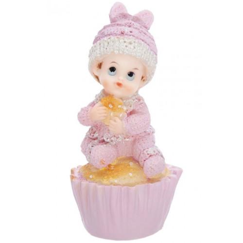 PartyDeco Tårtdekoration Baby på cupcake, rosa