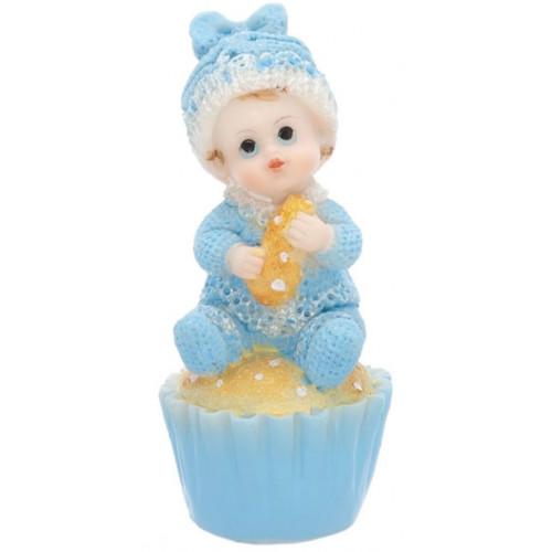 PartyDeco Tårtdekoration Baby på cupcake, blå