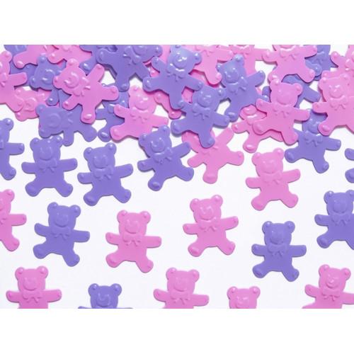 PartyDeco Konfetti Nallar, rosa och lila