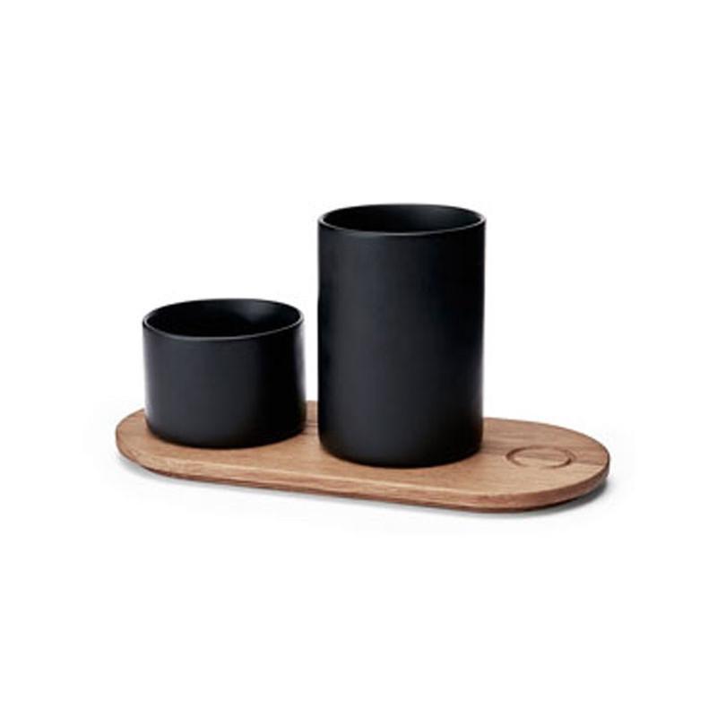 Morsö Träbricka med 2 krukor, svart
