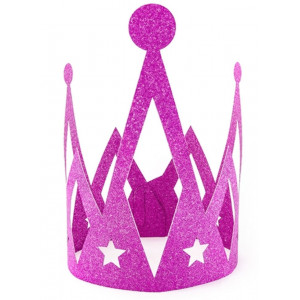 PartyDeco Prinsesskrona i papper, rosa glitter