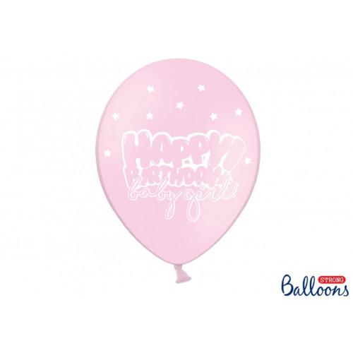 PartyDeco Ballonger Happy Birthday, rosa