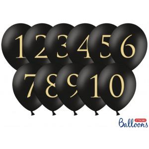 PartyDeco Ballonger Siffror 1-10, svarta