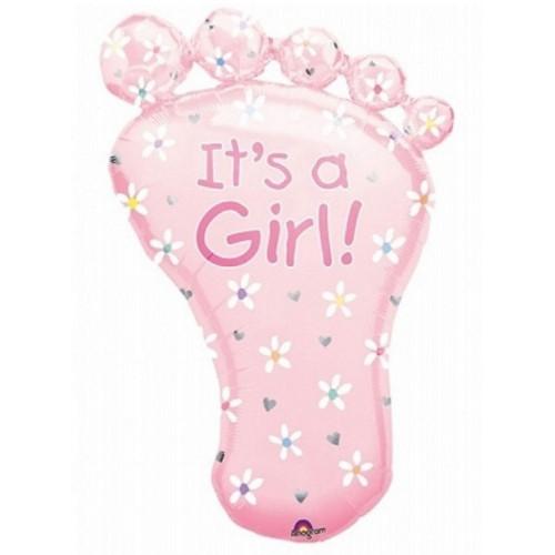 Anagram Ballong i microfolie, rosa babyfot, it's a girl