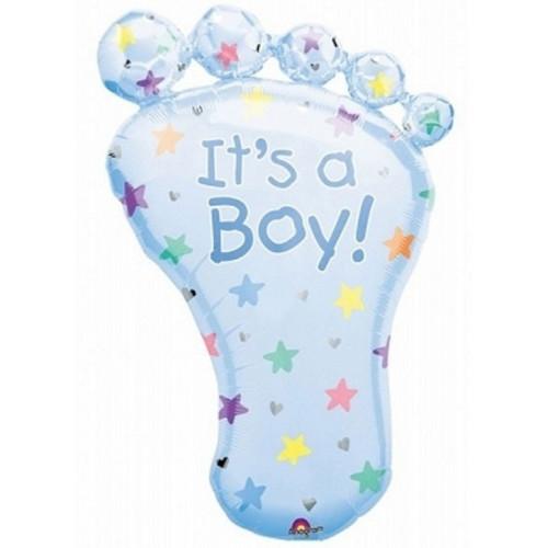 Anagram Ballong i microfolie, blå babyfot, it's a boy