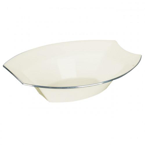 Engångsskål i plast, oval, crème