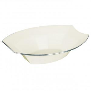 Engångsskål i plast, oval, crème, 6 st