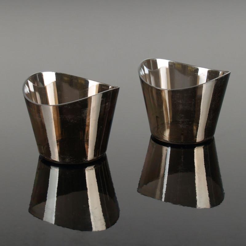 Engångsbägare i plast, rund, silver