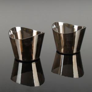 Engångsbägare i plast, rund silver, 12 st
