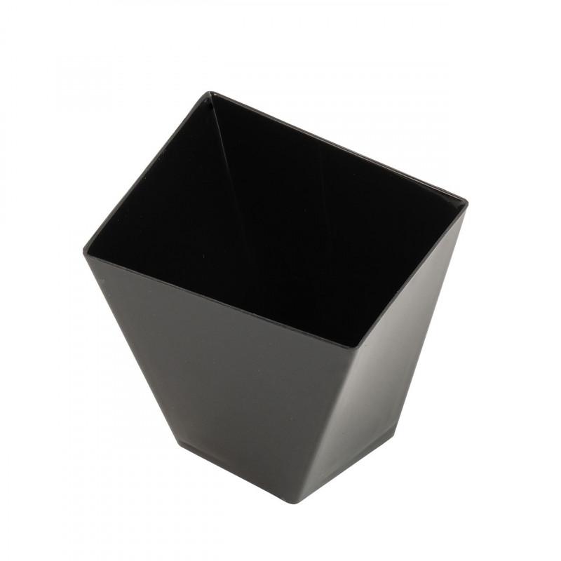 Engångsbägare i plast, fyrkantig vriden, svart