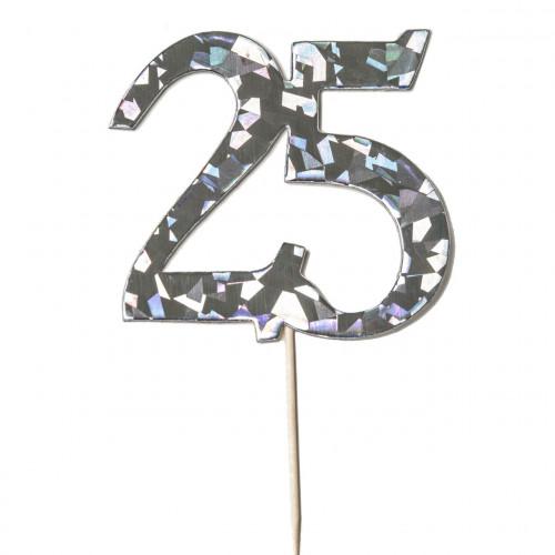 Cake Topper 25 år, silver
