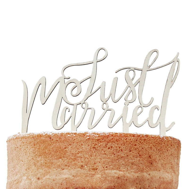 Ginger Ray Cake Topper i trä, Just Married