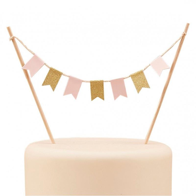 Ginger Ray Cake Topper Flaggor, rosa och guld