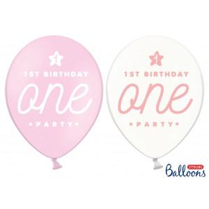 PartyDeco Ballonger 1st birthday, rosa