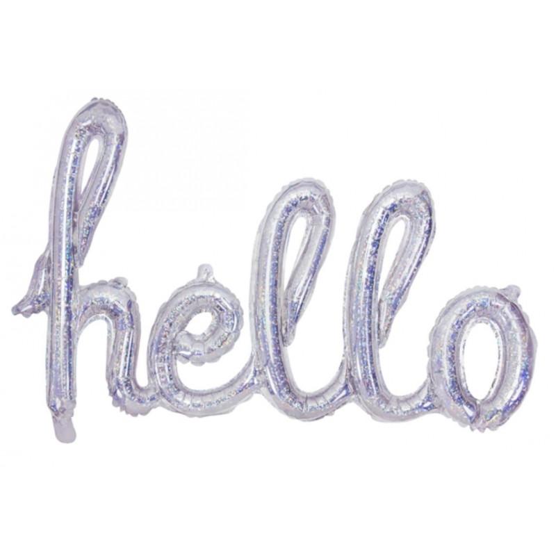 PartyDeco Folieballong Hello, holografisk