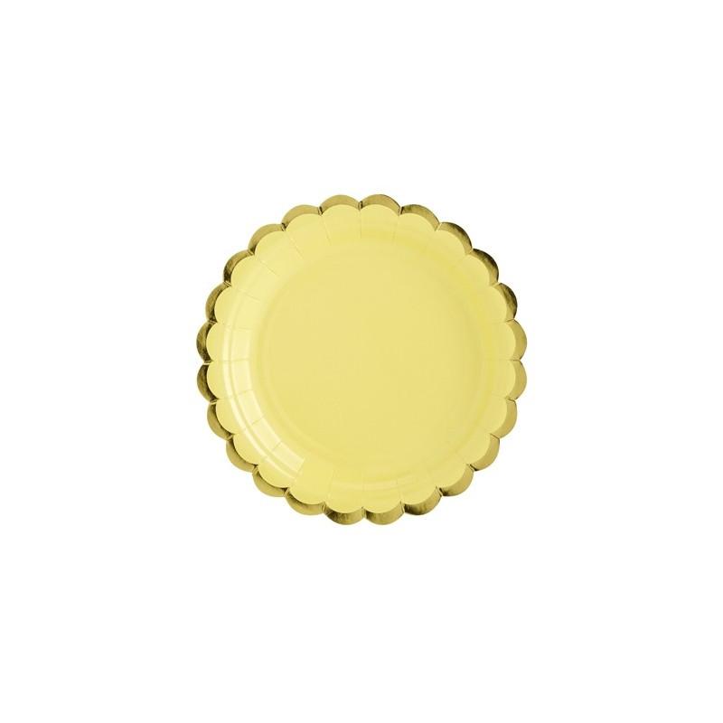PartyDeco Papperstallrikar, gul & guld