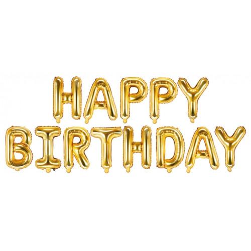 PartyDeco Folieballong Happy Birthday, guld