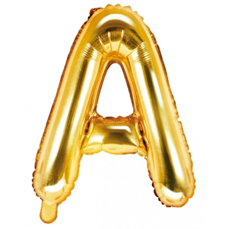 PartyDeco Bokstavsballong A, guld