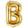 PartyDeco Bokstavsballong B, guld