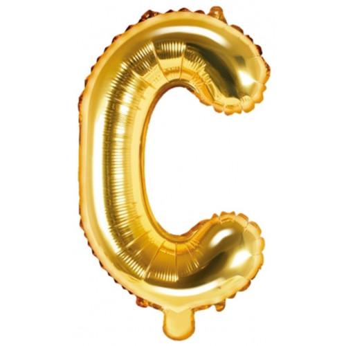 PartyDeco Bokstavsballong C, guld