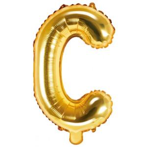 PartyDeco Bokstavsballong C, 35 cm i guld