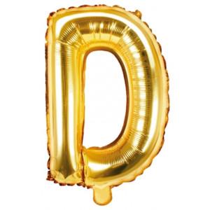 PartyDeco Bokstavsballong D, 35 cm i guld
