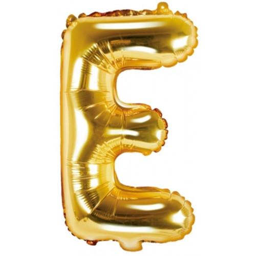 PartyDeco Bokstavsballong E, guld