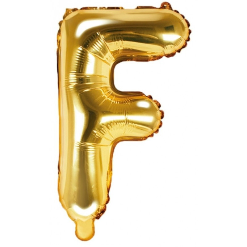 PartyDeco Bokstavsballong F, guld