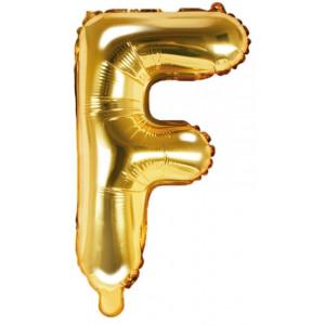 PartyDeco Bokstavsballong F, 35 cm i guld