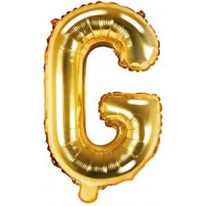 PartyDeco Bokstavsballong G, 35 cm i guld