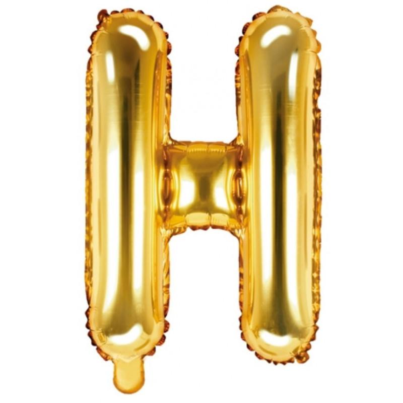 PartyDeco Bokstavsballong H, guld