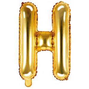 PartyDeco Bokstavsballong H, 35 cm i guld