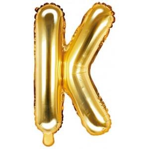 PartyDeco Bokstavsballong K, 35 cm i guld
