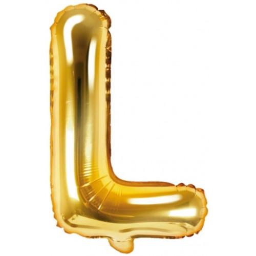 PartyDeco Bokstavsballong L, guld