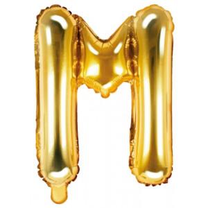 PartyDeco Bokstavsballong M, 35 cm i guld