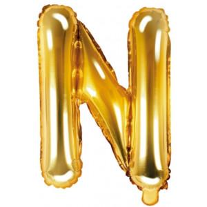 PartyDeco Bokstavsballong N, 35 cm i guld