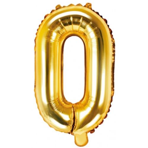 PartyDeco Bokstavsballong O, guld